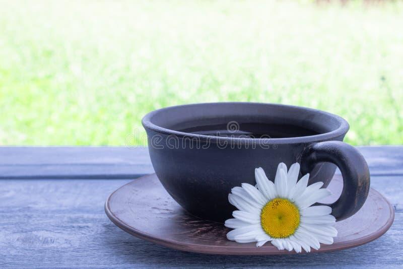 Une tasse de thé avec des marguerites se tient sur une table bleue sur un fond d'herbe verte image stock