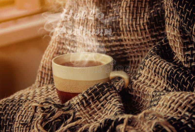 Une tasse de thé Bonjour, automne Foyer sélectif photos libres de droits