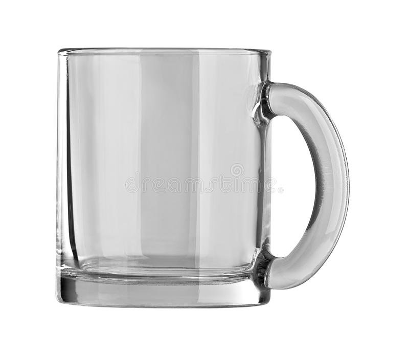 Une tasse en verre vide pour le thé d'isolement sur le fond blanc photos libres de droits