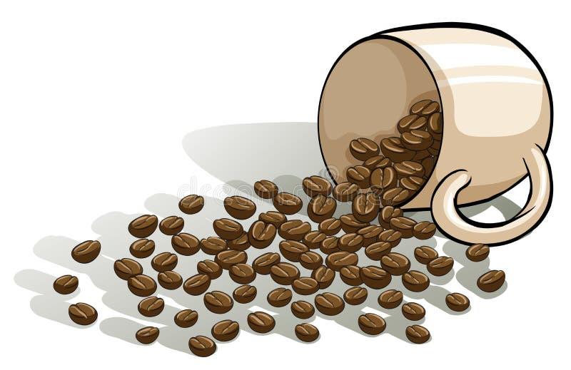 Une tasse et les haricots renversés illustration de vecteur