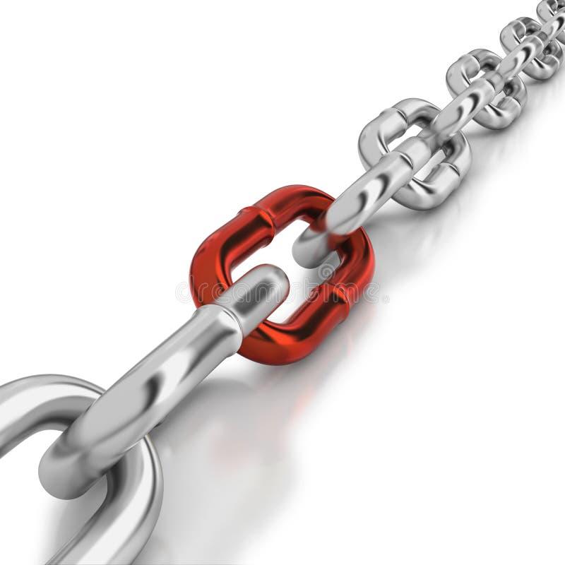 Une tige rouge dans un réseau de chrome illustration libre de droits