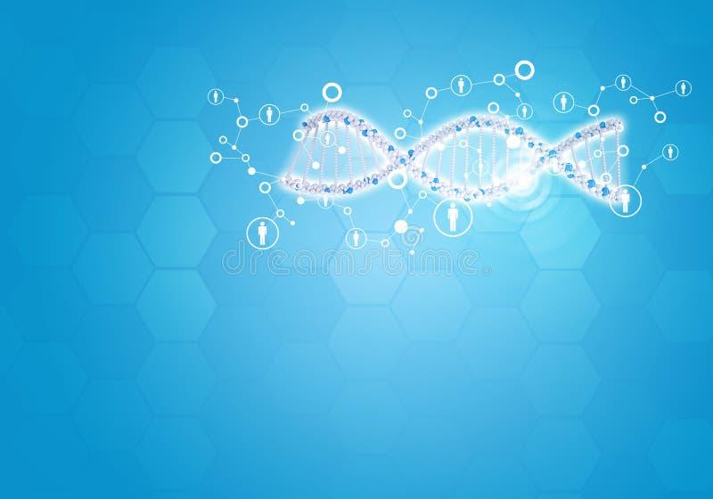 Une toda la DNA humana del gen Fondo con hexágono stock de ilustración