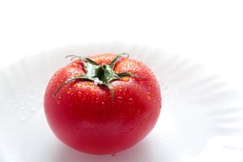 Une tomate rouge mûre avec des baisses de l'eau d'isolement sur un fond blanc de plat photos stock