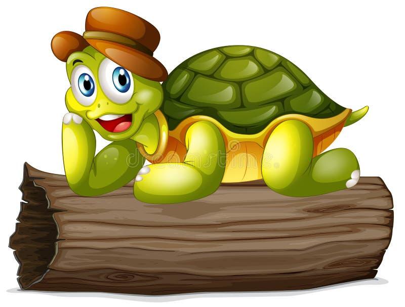 Une tortue au-dessus d'un rondin illustration de vecteur