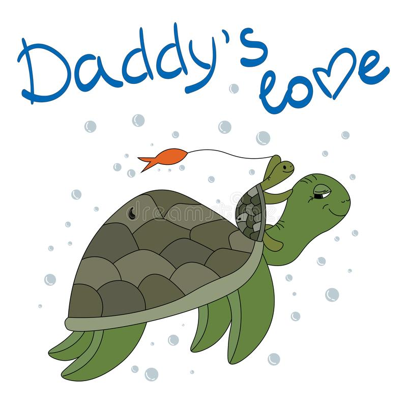 Une tortue et une petite tortue jouent sous l'eau Amour du ` s de papa illustration stock