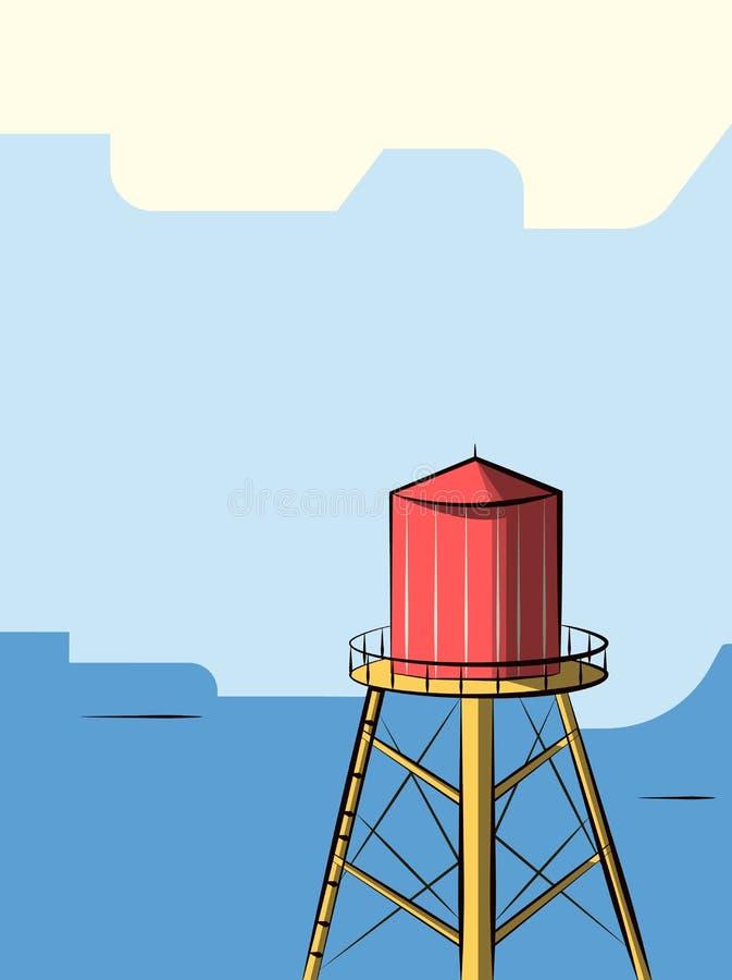 Une tour d'eau rouge sur le fond bleu illustration stock