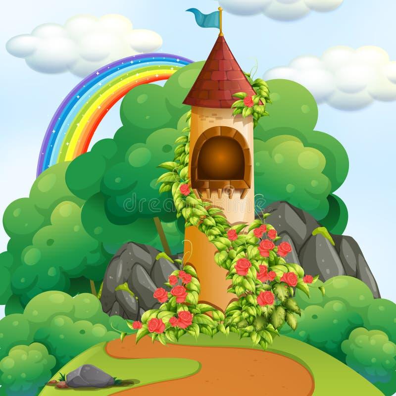 Une tour de conte de fées en bois illustration stock