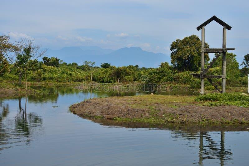 Une tour de montre près d'une crique chez Buxa Tiger Reserve dans le Bengale-Occidental, Inde photo libre de droits