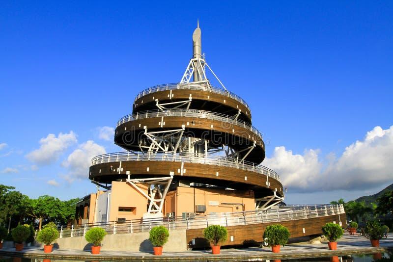 une tour en spirale de surveillance de Tai Po Waterfront Park images libres de droits