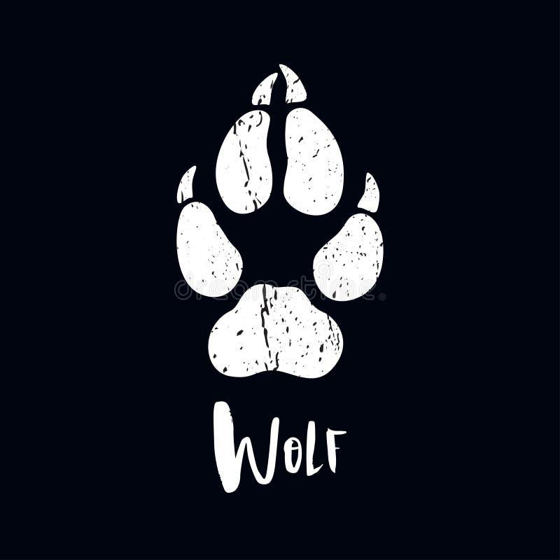 Une trace d'un loup Silhouette blanche de pied illustration libre de droits