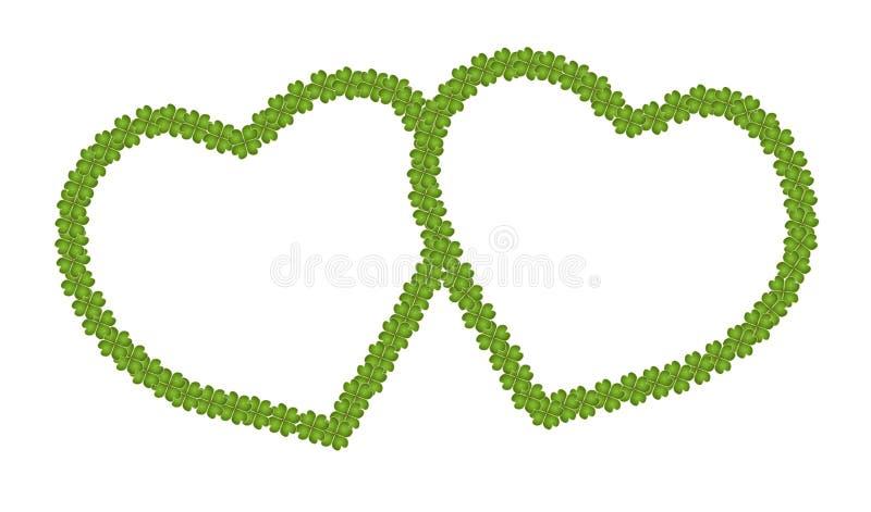 Une trame vide de forme de coeur de trèfle de quatre lames illustration de vecteur