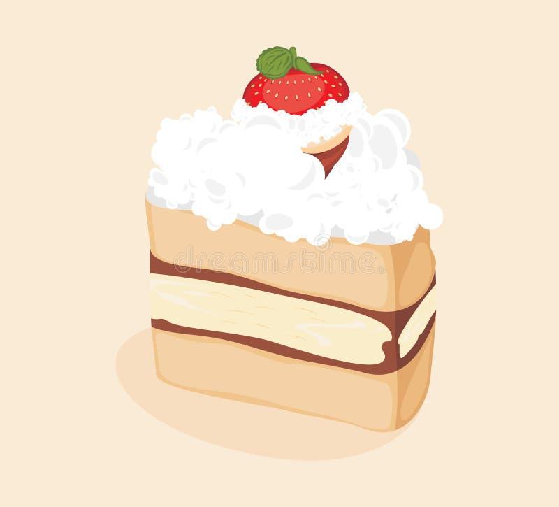 Une tranche de gâteau de fraise illustration de vecteur