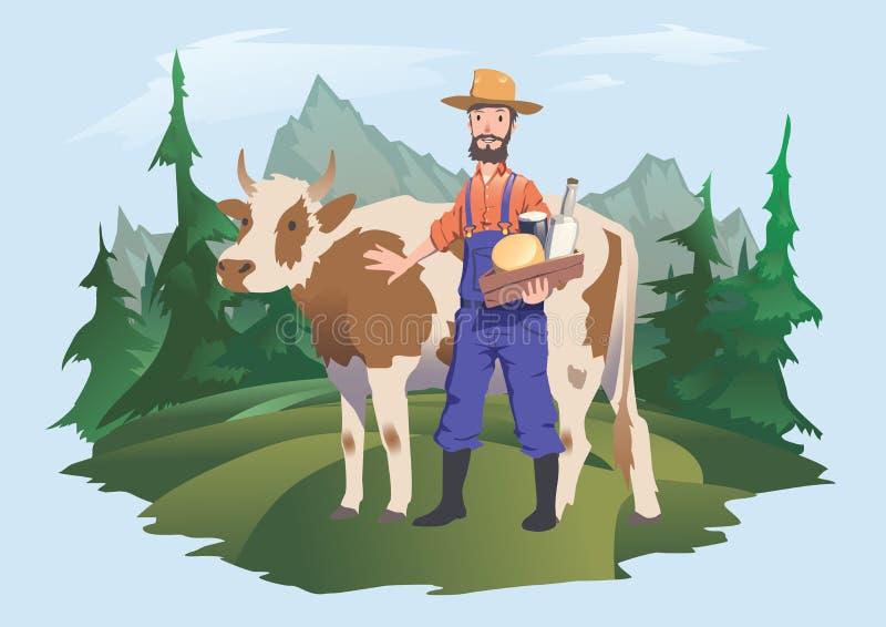 Une vache et un agriculteur dans un pré, paysage alpin Dirigez l'illustration pour l'empaquetage du lait ou des laitages illustration de vecteur