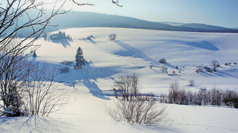 Une vallée neigeuse images stock