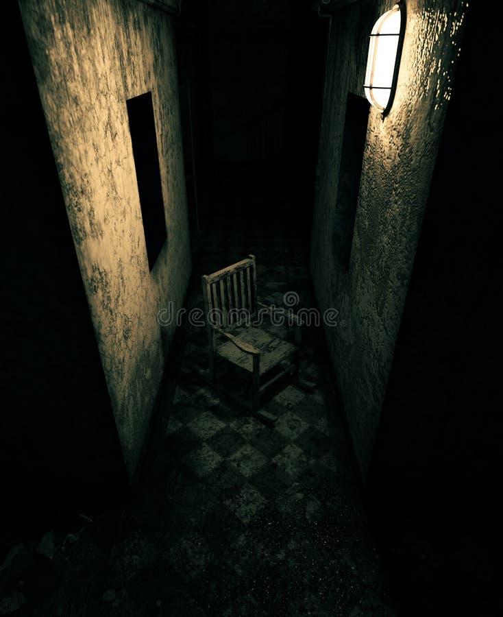 Une vieille chaise dans la maison hantée illustration stock