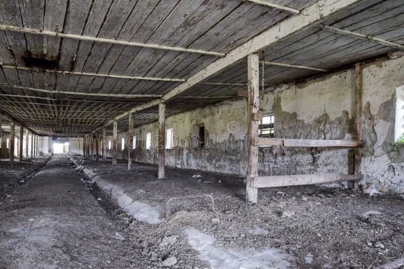 Une vieille ferme abandonnée pour des vaches Style abandonné photo stock