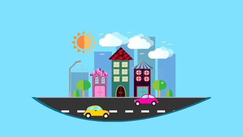 Une ville, une petite ville accrochant dans le ciel dans un style plat avec des maisons avec un toit de tuile en pente, voitures, illustration libre de droits