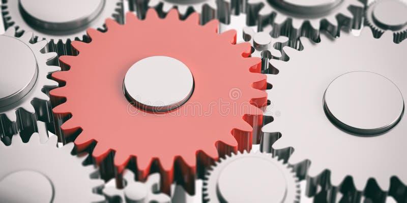 Une vitesse rouge sur le fond argenté de roues dentées illustration 3D illustration stock