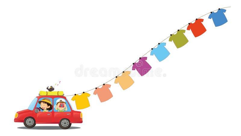 Une voiture rouge avec les vêtements accrochants illustration de vecteur