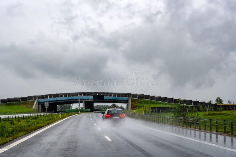 Une voiture sur une route humide sous la pluie Vue de l'arrière par la fenêtre de voiture photographie stock libre de droits