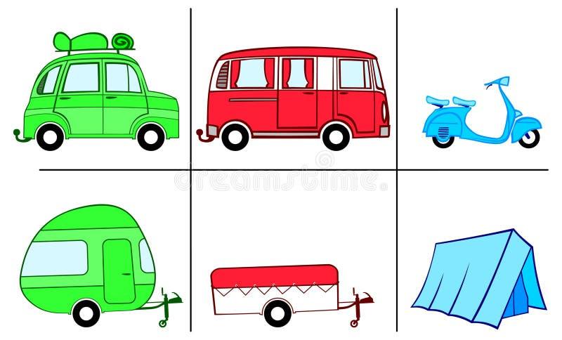 Une voiture, un fourgon et un scooter avec des marchandises de camping (caravane, campeur, tente) photos stock