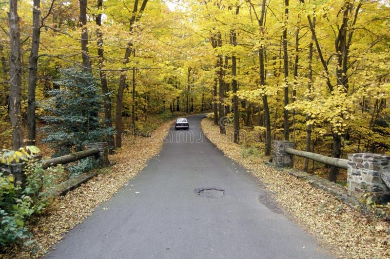 Une voiture voyageant sur l'itinéraire scénique 29 dans le New Jersey photos stock