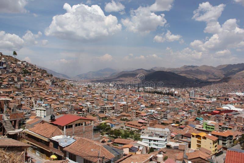 Une vue aérienne au-dessus de Cuzco photographie stock libre de droits