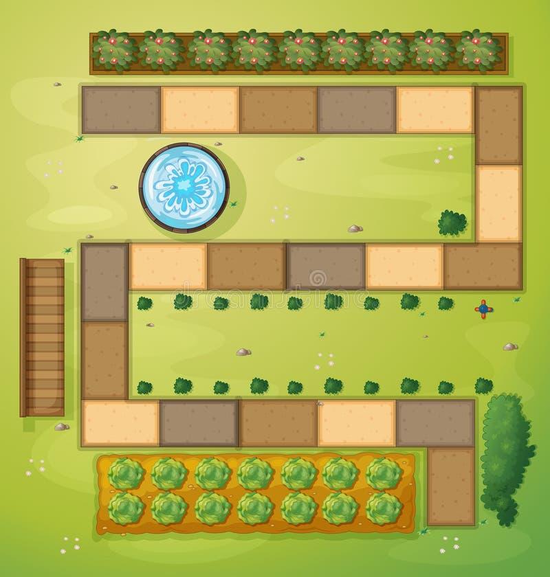 Une vue aérienne d'un jardin illustration de vecteur