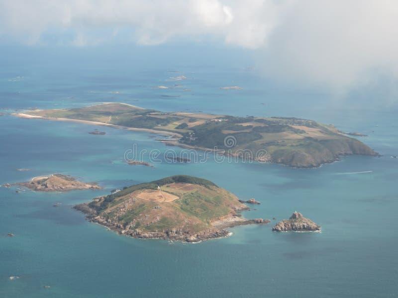 Une vue aérienne de Herm et d'îles de Jethou photo libre de droits