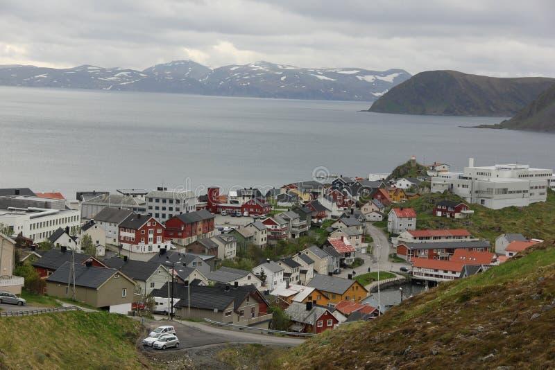 Une vue aérienne de Honningsvag photos libres de droits
