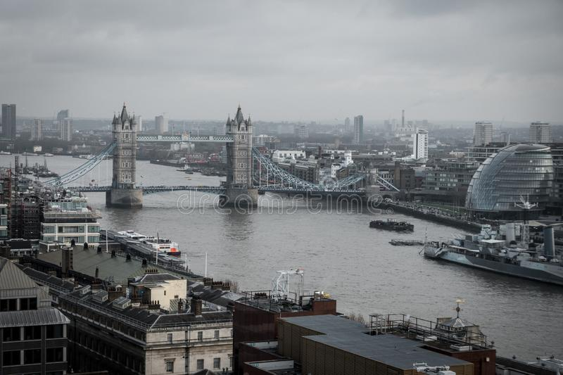 Une vue aérienne de pont de tour, Londres photo libre de droits