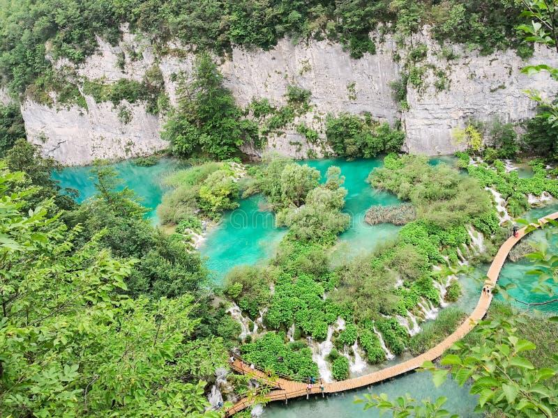 Une vue aérienne et panoramique de parc national de lacs Plitvice image libre de droits