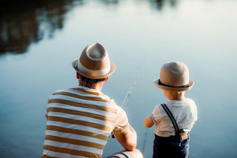 Une vue arrière de père mûr avec un petit fils d'enfant en bas âge pêchant dehors par un lac photos libres de droits