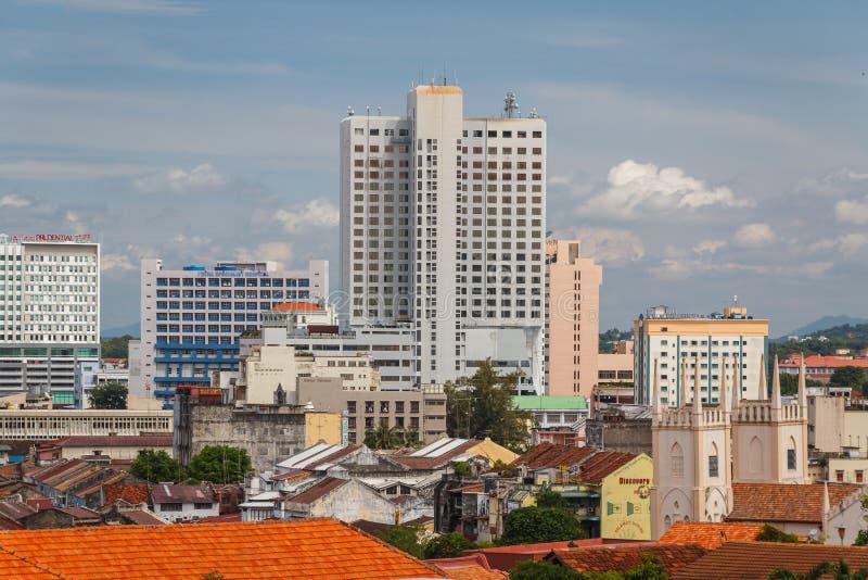 Une vue au-dessus de vieilles et nouvelles régions du Malacca photos libres de droits
