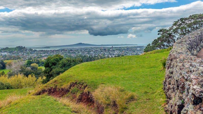 Une vue d'île de Rangitoto d'une colline d'arbre photographie stock