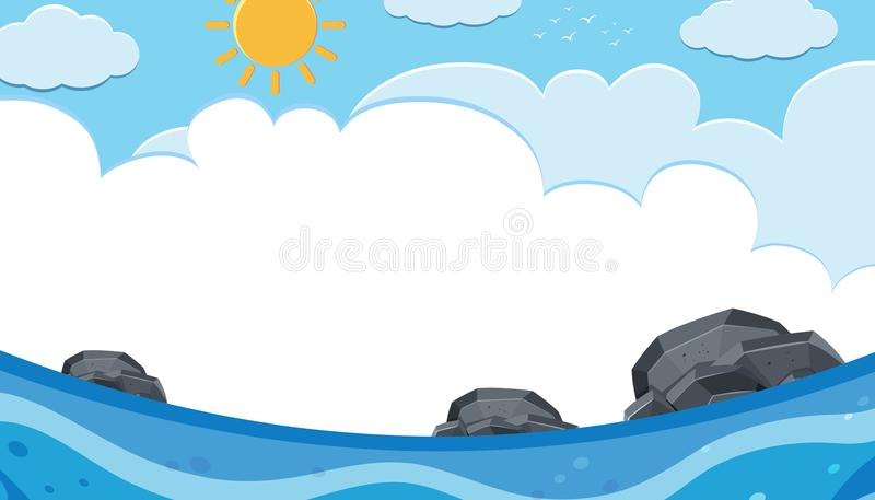 Une vue d'océan sur Sunny Day illustration libre de droits