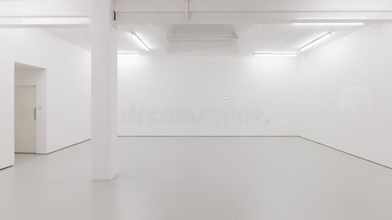 Une vue d'un intérieur peint blanc d'une salle vide ou d'une galerie d'art avec un éclairage de lucarne et des planchers en béton image stock