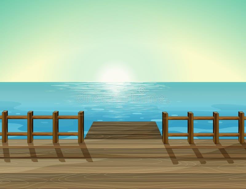 Une vue d'un port et de la mer illustration stock