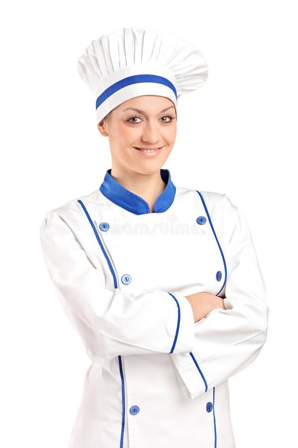Une vue d'une pose femelle heureuse de boulanger photographie stock libre de droits