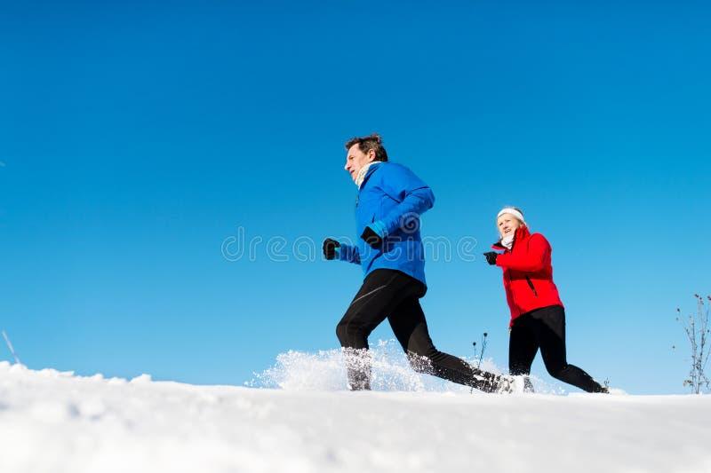 Une vue de côté des couples supérieurs pulsant en nature neigeuse d'hiver photographie stock libre de droits