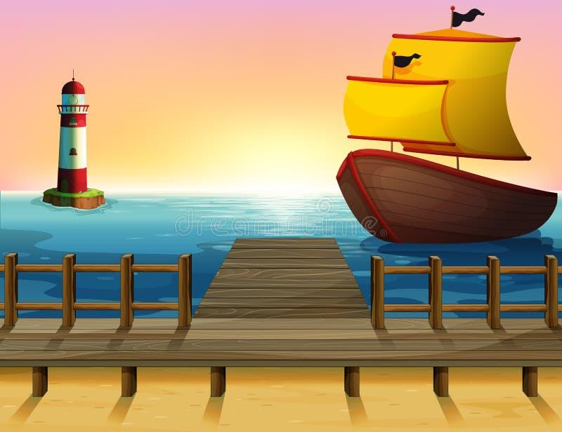 Une vue de coucher du soleil du port avec un bateau en bois illustration de vecteur