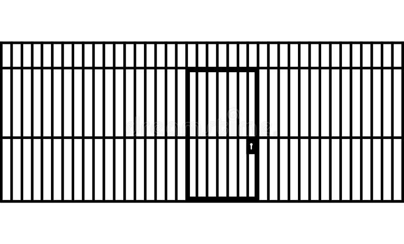 Une vue de face des barres d'une cellule de prison avec des barres de fer et d'une porte sur un fond d'isolement illustration de vecteur