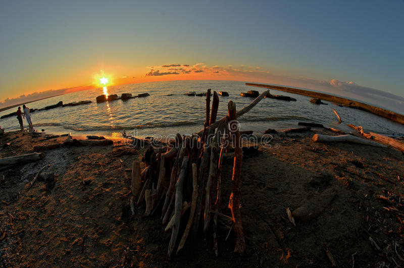Une vue de fisheye de la plage près de Cleveland Ohio photo stock
