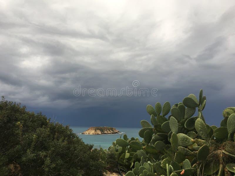 Une vue de la mer et de l'île tropicale avec le cactus dans le premier plan avant la tempête avec les nuages bleu-foncé approc photos stock
