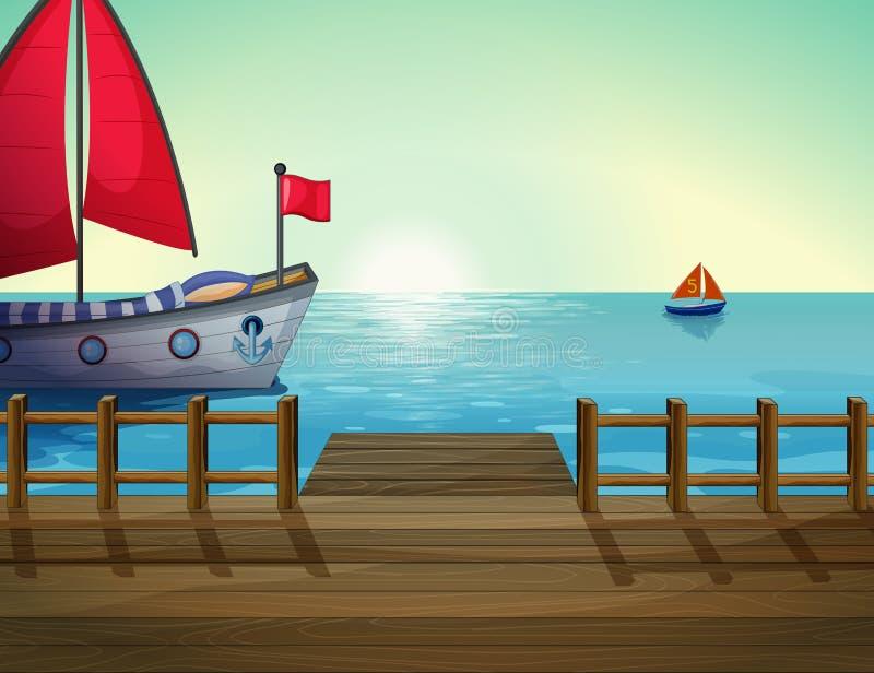 Une vue de matin du port avec le bateau illustration libre de droits