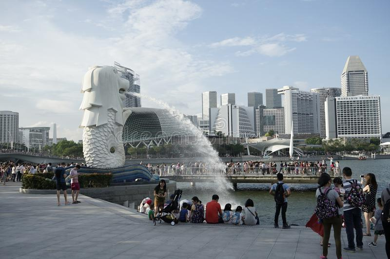 Une vue de Merlion au parc de Merlion photo stock