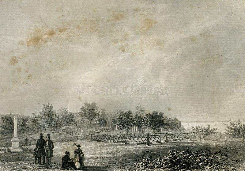 Une vue de moulu approprié pour Clinton Monument Landscape Illustration illustration libre de droits
