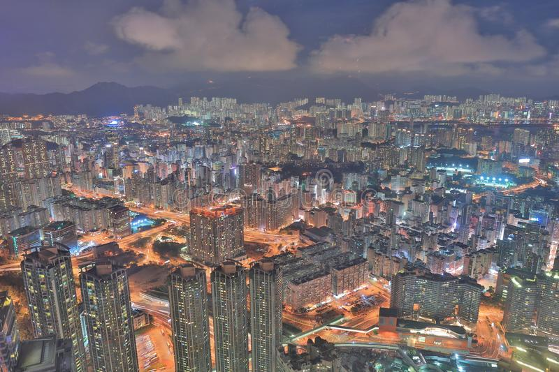 une vue de nuit Kowloon d'icc photo stock