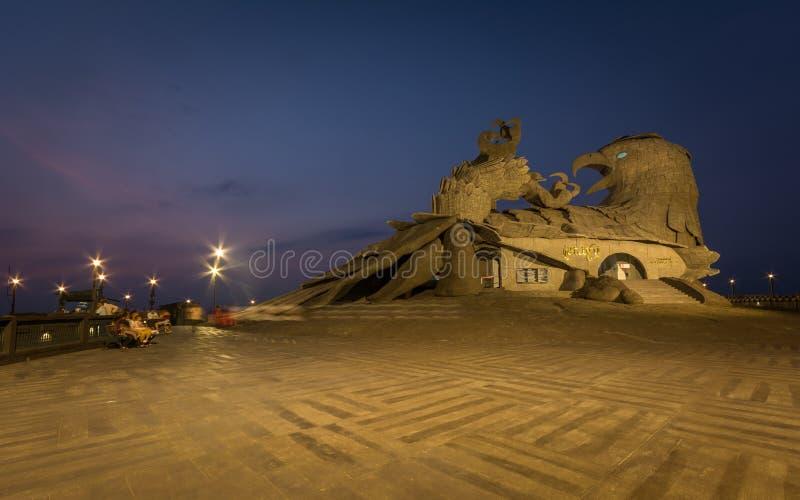 Une vue de nuit de sculpture en Jatayu photo libre de droits