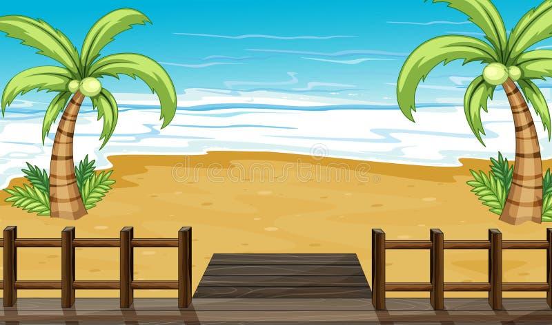 Une vue du bord de la mer avec des arbres de noix de coco illustration stock